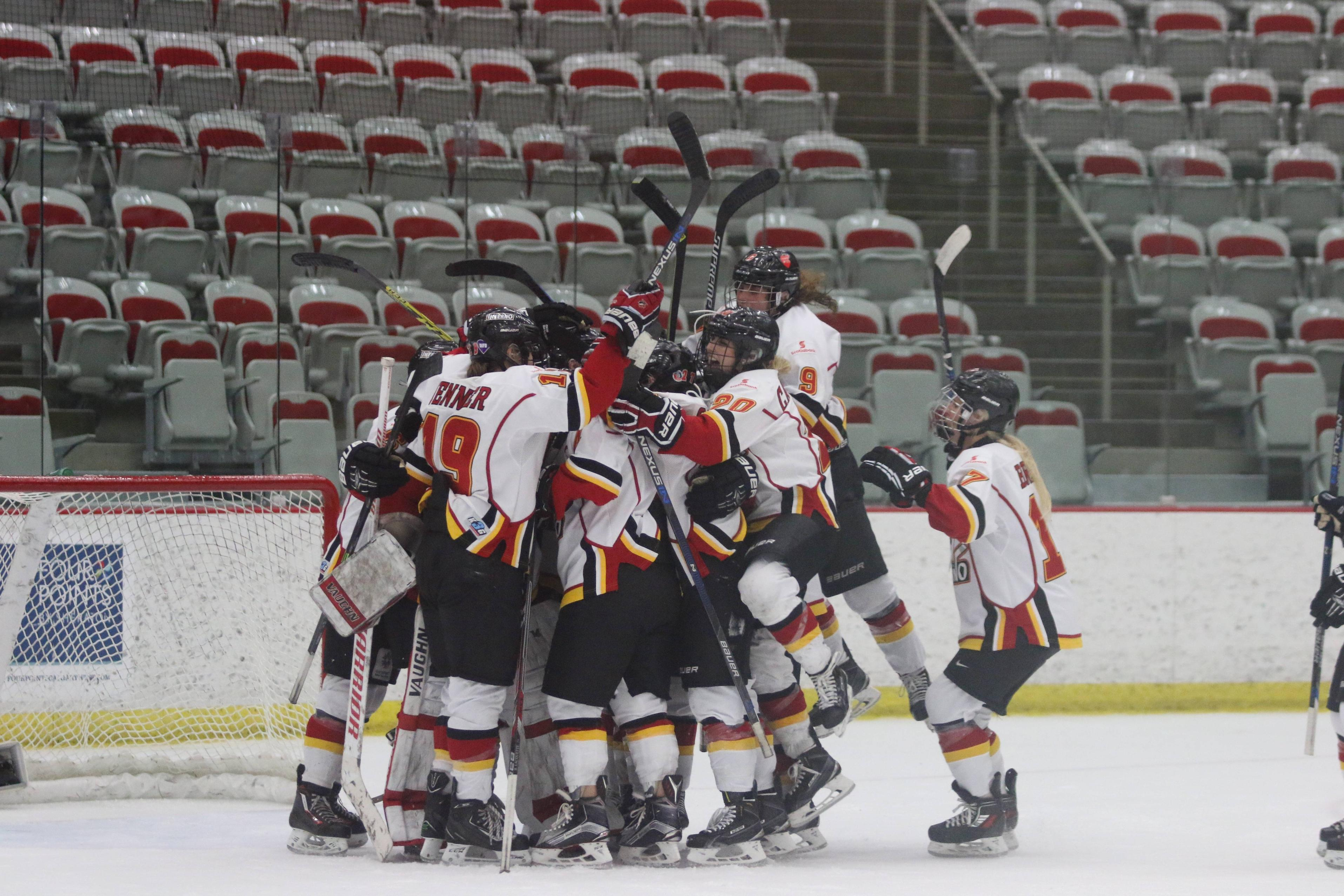 The Inferno celebrate their win against the Thunder Saturday night, which earned them a berth in the Clarkson Cup Final against Les Canadiennes de Montreal. Rebecca Johnston scored the game-winning goal in the third period.