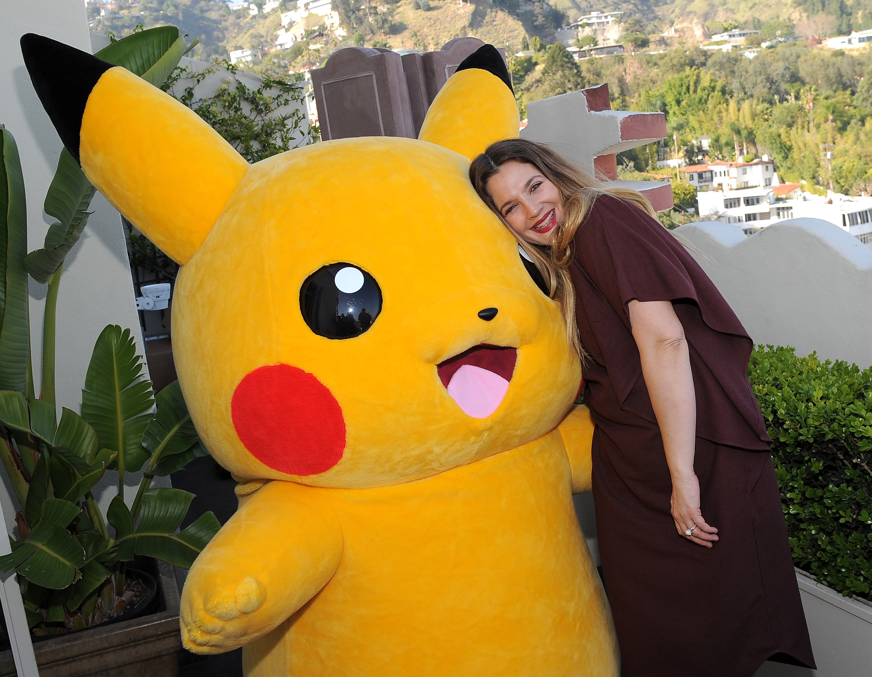 Pikachu and Drew Barrymore. Photo: Angela Weiss / Getty Images