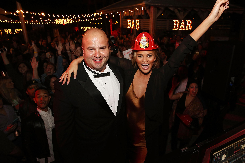 Derek Kaplan and Chrissy Teigen at Fireman Derek's Midnight Breakfast at the South Beach Wine and Food Festival 2016