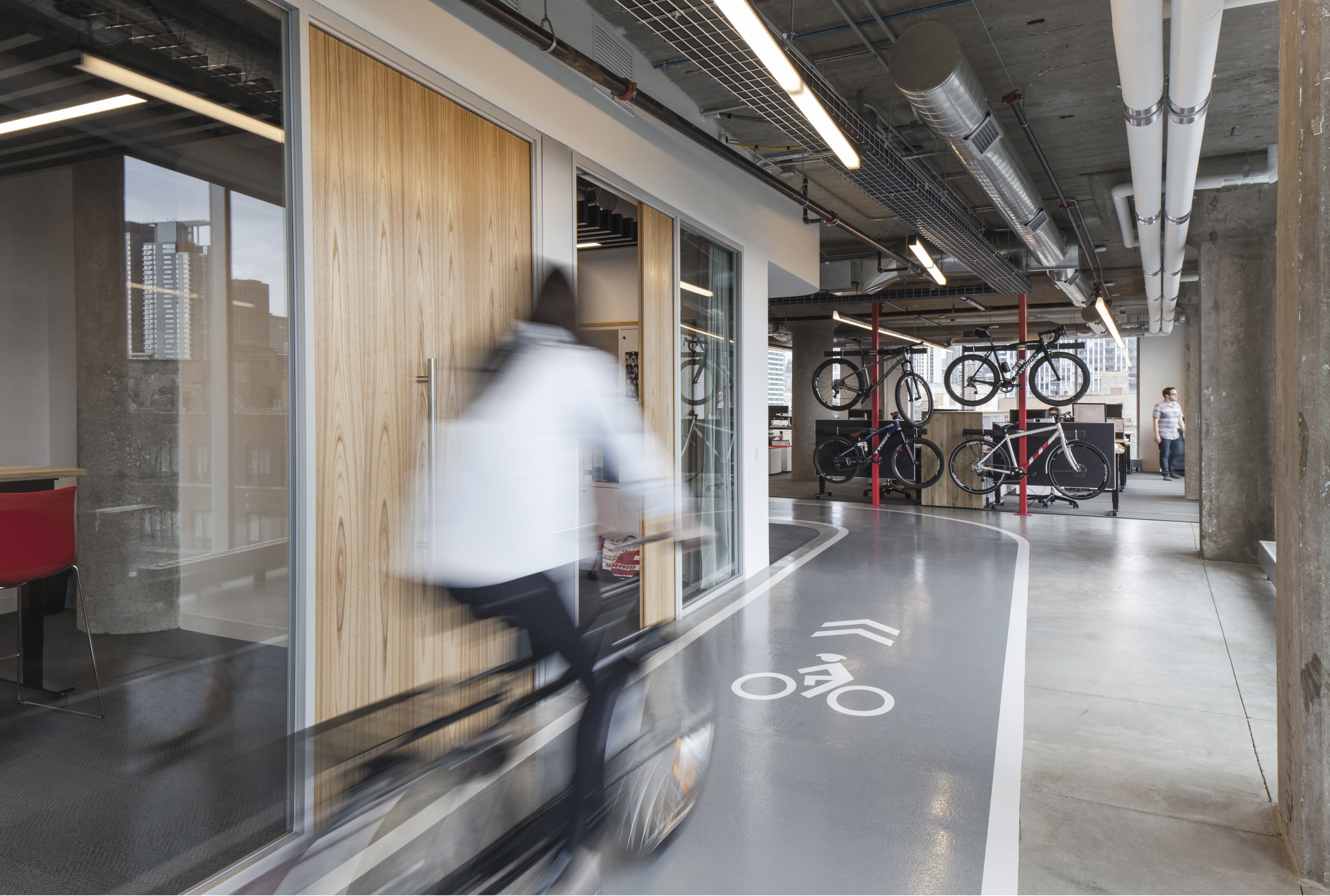 The office features a 1/8 mile bike track.