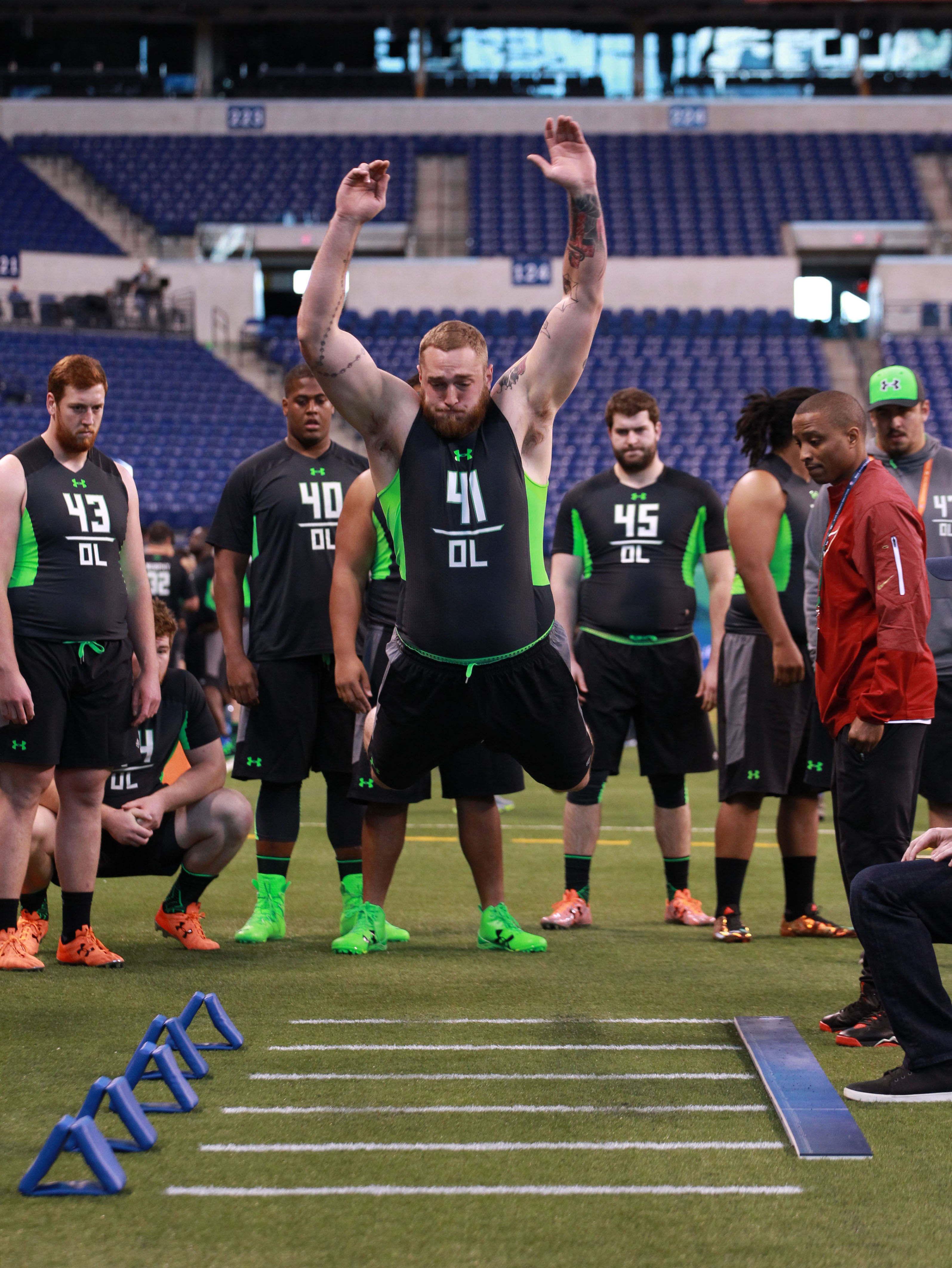 Jason Spriggs during the broad jump at the Combine