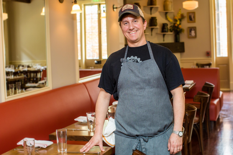 Chef Alex Harrell inside his Quarter restaurant Angeline.