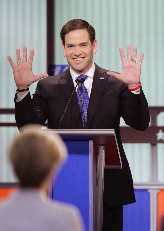 Marco Rubio showing off his hands at Fox News's Republican debate.