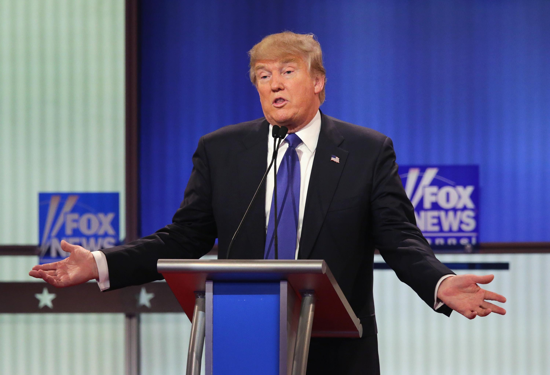 Donald Trump at Fox News's Republican debate in Detroit.