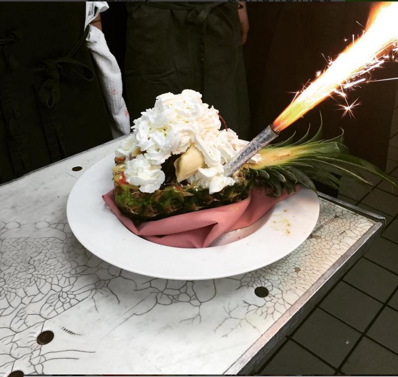 Pineapple-banana split captured by McCrady's Chef de Cuisine Daniel Heinze