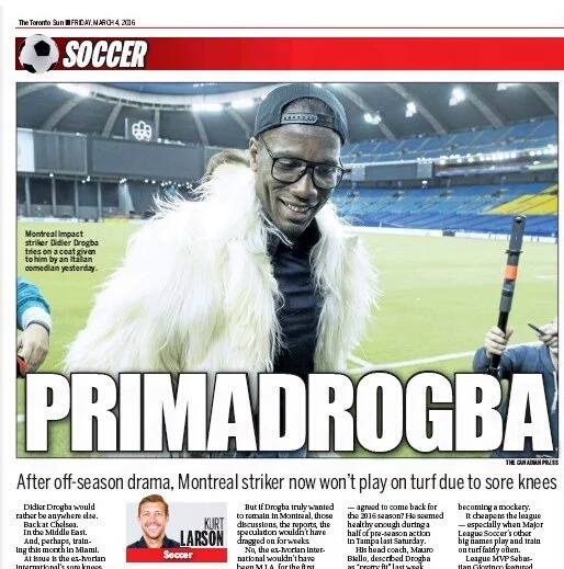 Princess Drogba doesn't like playing on turf, say's it hurts his old princess knees.