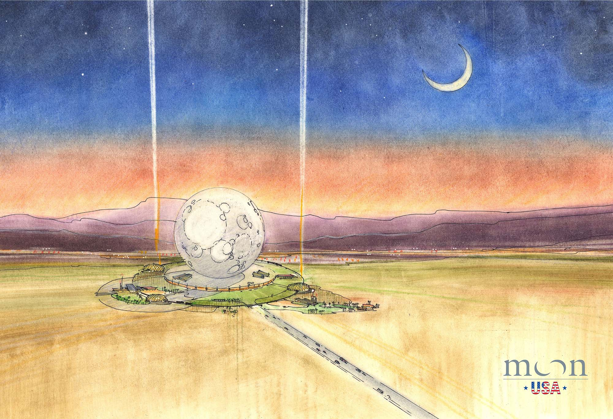 A rendering of the giant lunar sphere planned for this moon-themed resort.