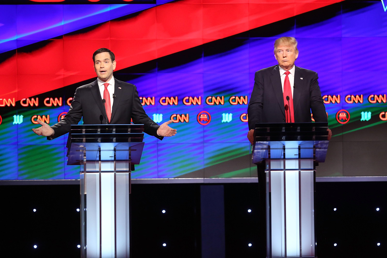 Marco Rubio and Donald Trump at CNN's Republican debate.