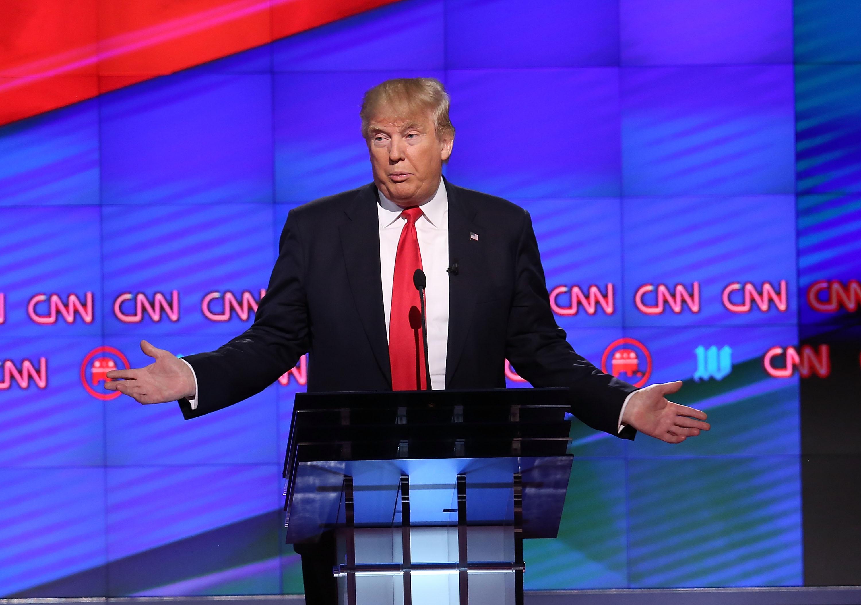 Donald Trump at CNN's Republican debate in Miami.