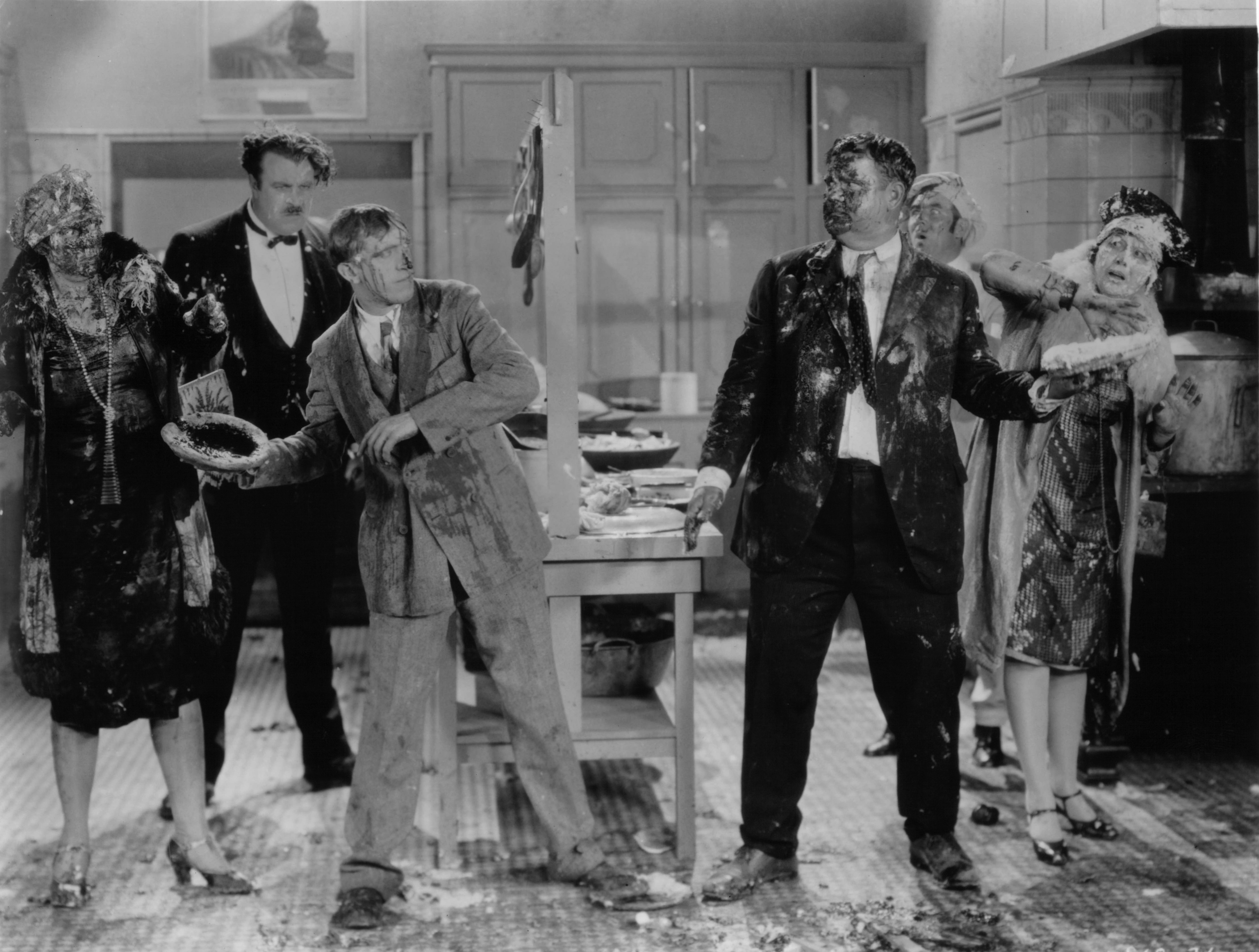Stan Laurel and Oliver Hardy in Their Purple Moment, another film that featured pie throwing.