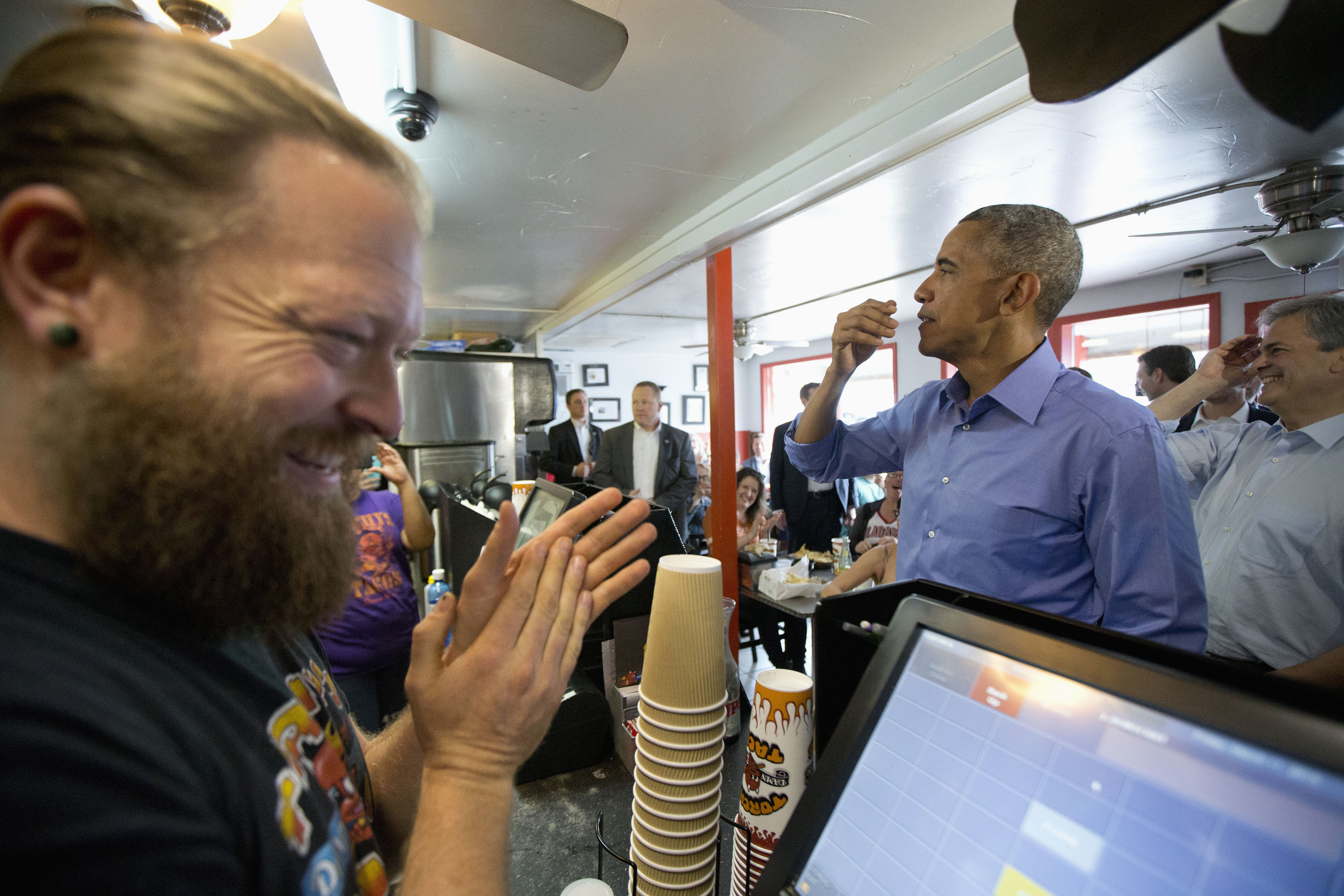 Obama placing his Torchy's order