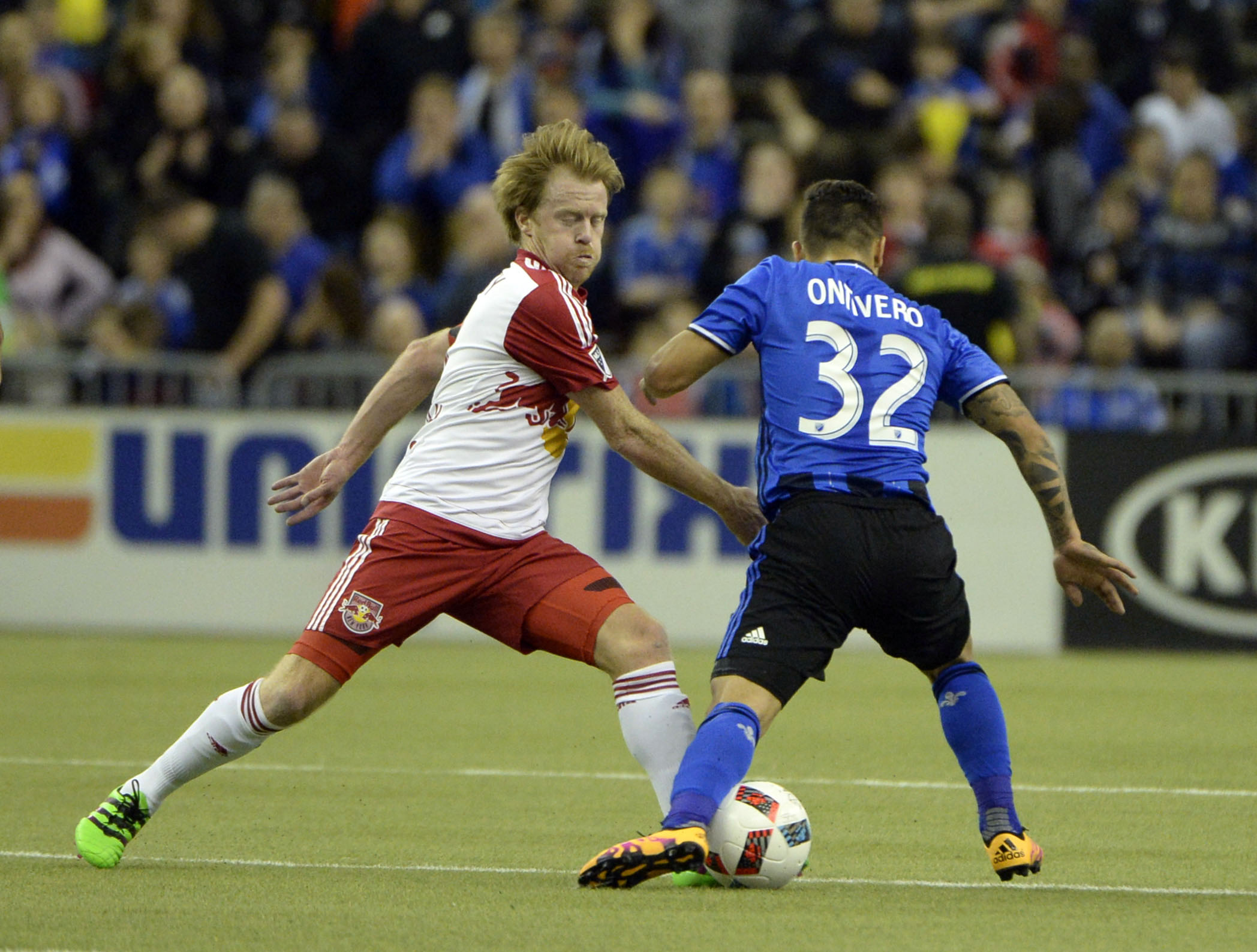 Ontivero looks to take on a defender in IMFC's 3-0 win over NYRB on Saturday.