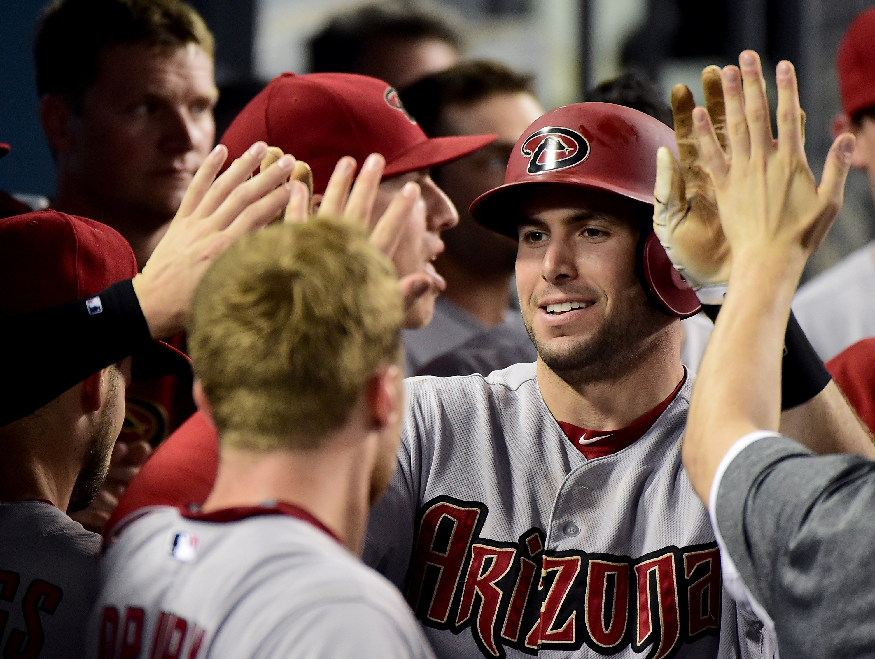 Goldy has just hit a Homerun against the Dodgers on 21 September 2015.