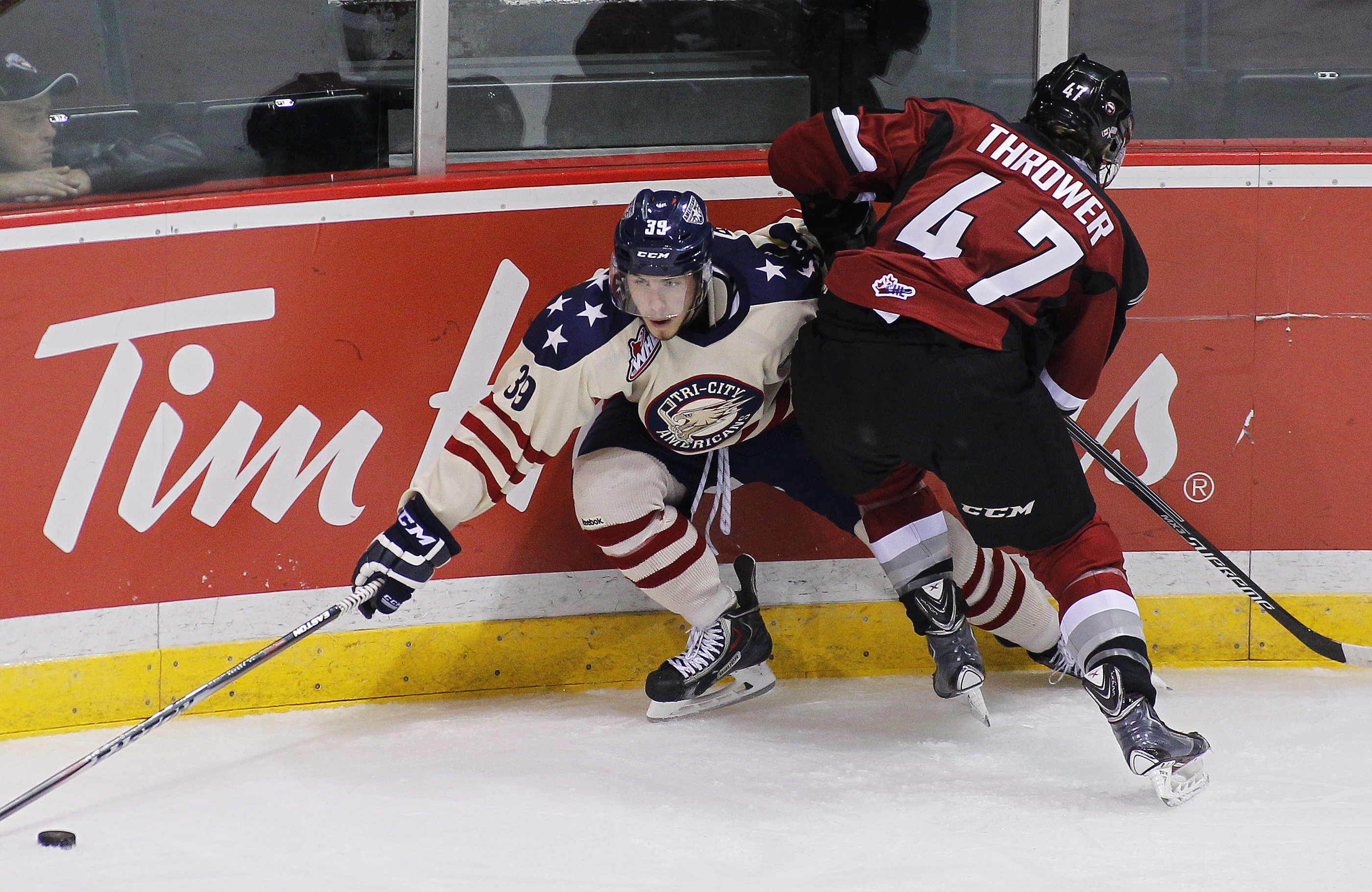 Parker Bowles (39) ended his WHL career Saturday with a goal and an assist in a victory over Spokane.