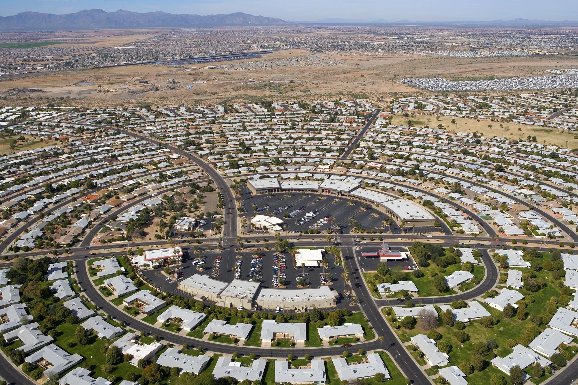 An aerial view of Sun City, Arizona.