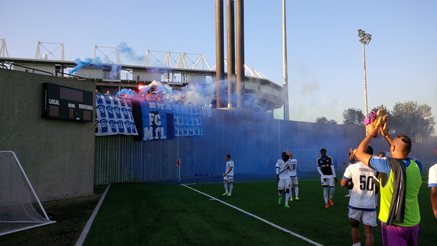 FC Montreal players thanking the Ultras for their tifo and support.