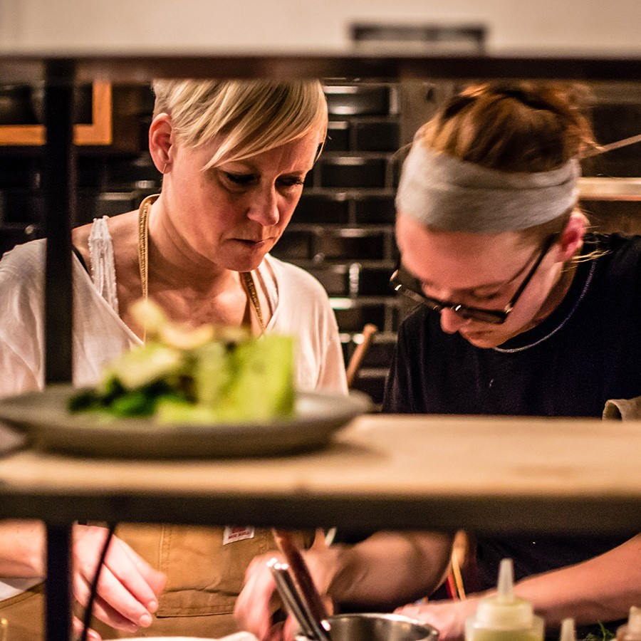 Dyan Solomon with her chef at Foxy, Leigh Roper