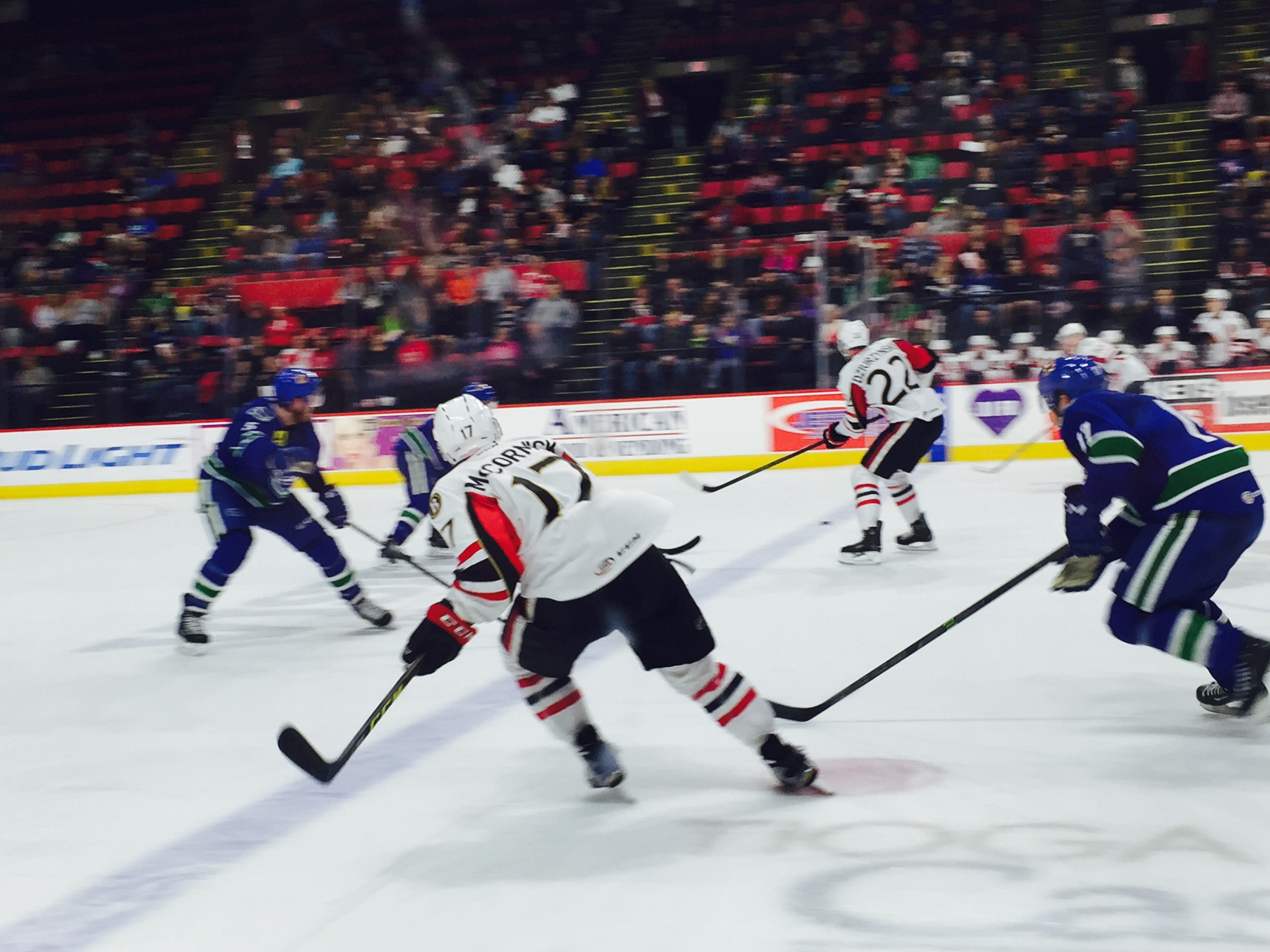 BSens forward's Max McCormick and David Dziurzynski in action with the Utica Comets