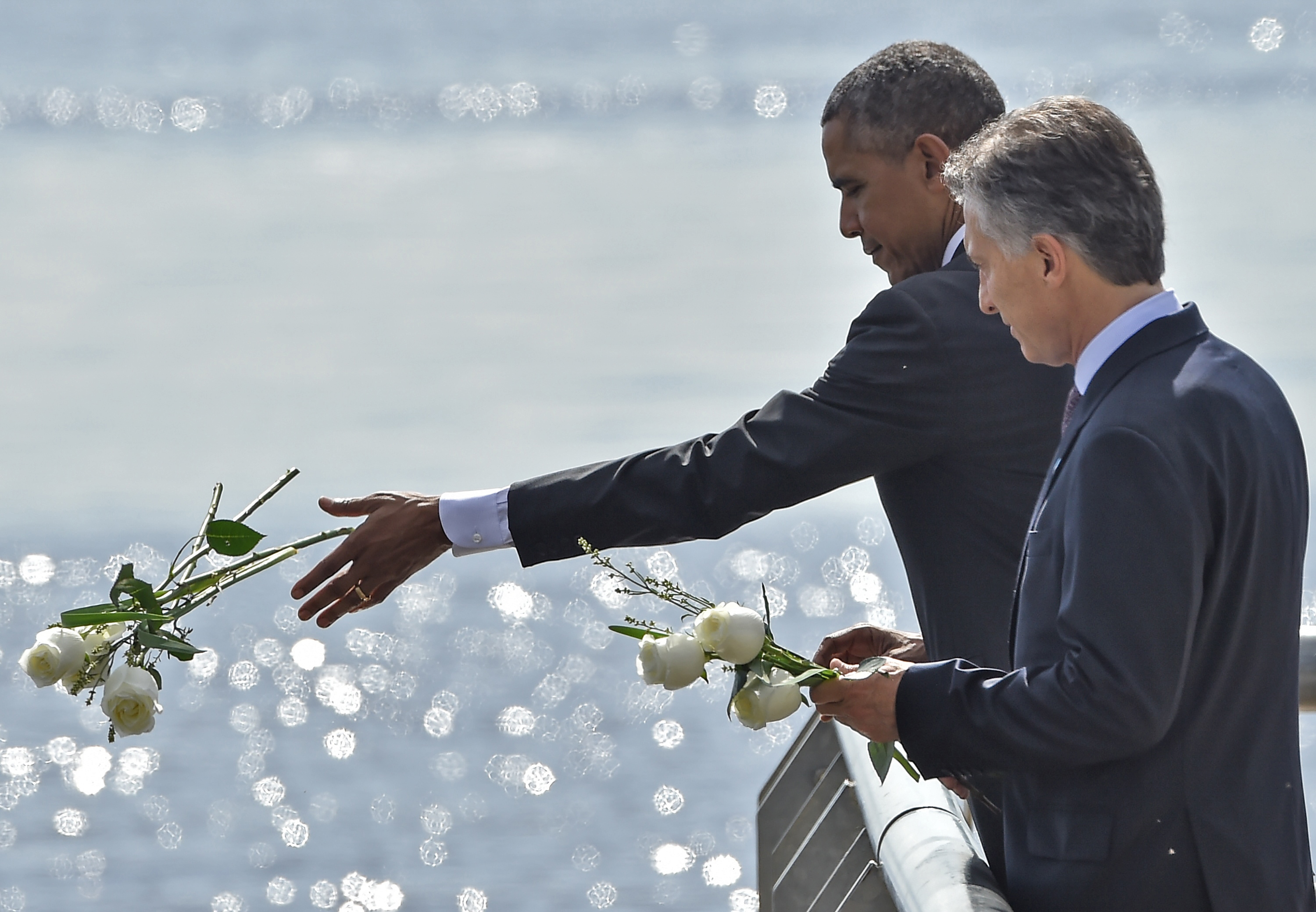 """President Obama with President Macri of Argentina at a memorial to victims of the """"dirty war"""""""