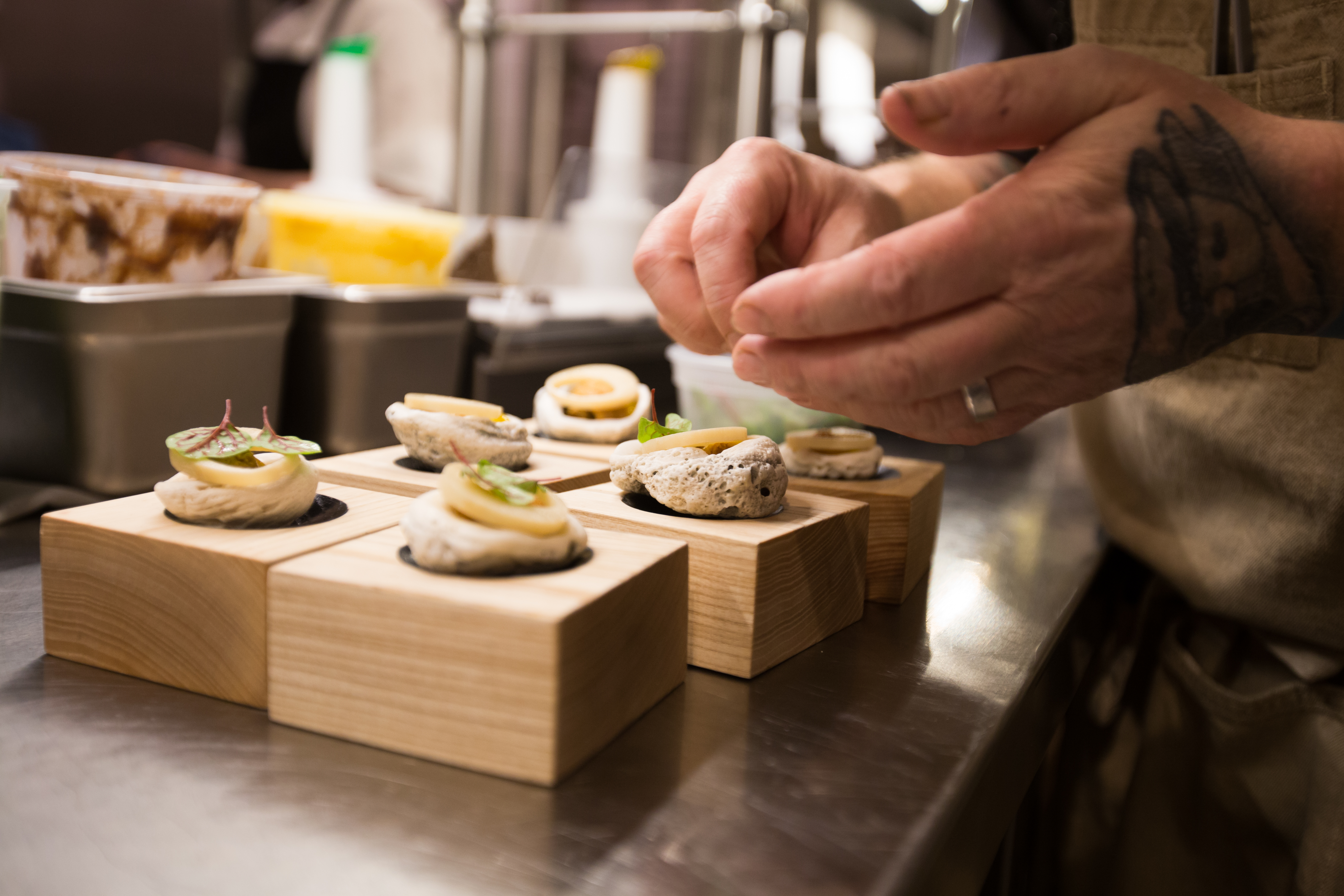 Plating at Upton 43's chef's table.