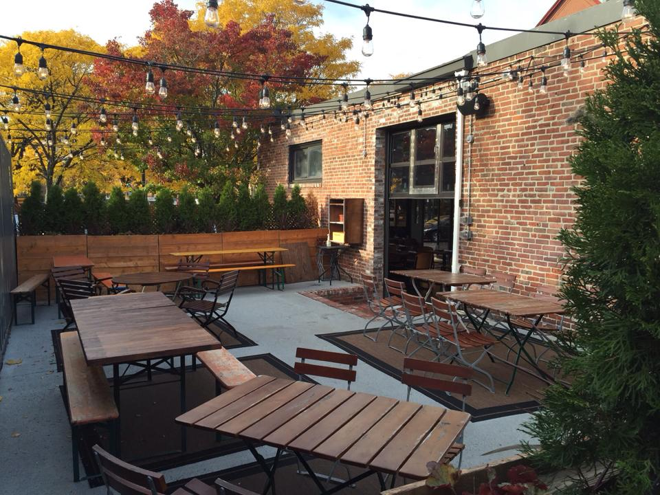 The patio at Brewer's Fork in Charlestown