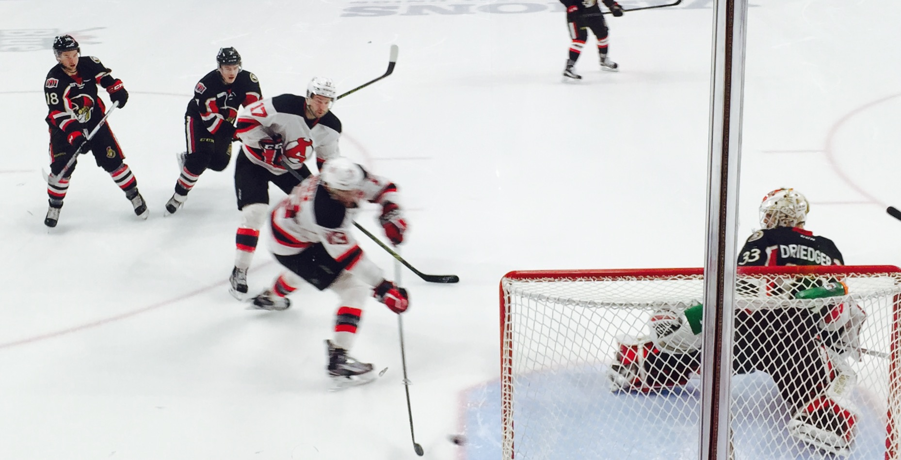 Ex-Sens Jim O'Brien with the OT winner on Friday for the Devils.