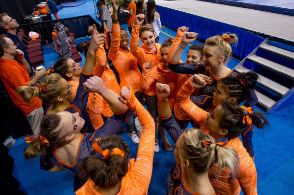 Auburn Gymnastics gathers for a cheer at the SEC Championship