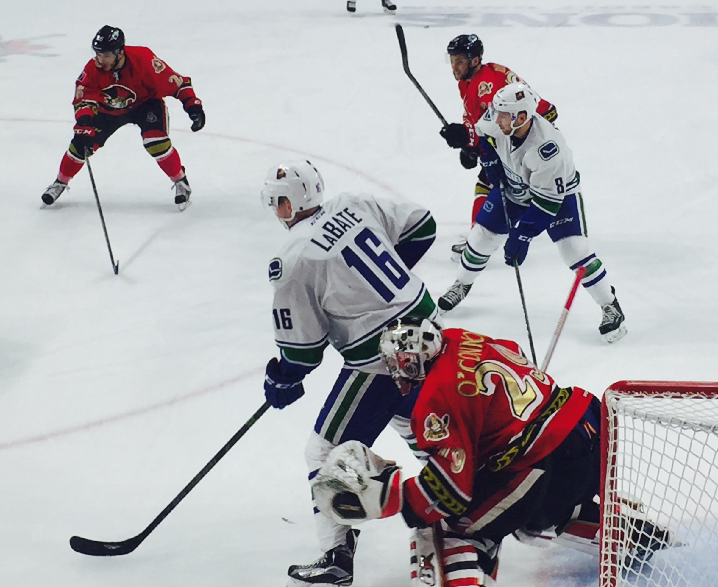 Utica Comets Joseph LaBate sets up for his first of two goals in Saturday's tilt with Binghamton.