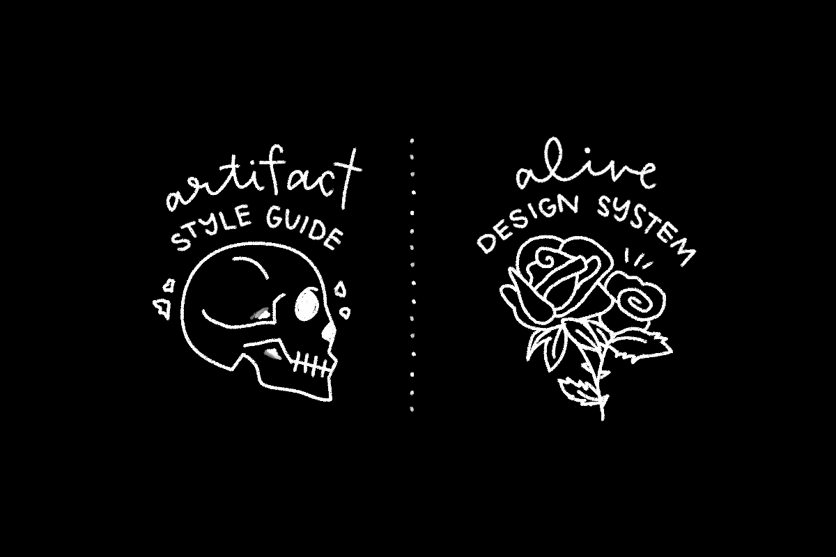 """Illustration: On left, a drawing of a skull with handwritten words """"artifact"""" and """"style guide"""", on right, a drawing of flowers and handwritten words """"alive"""" and """"design system"""""""