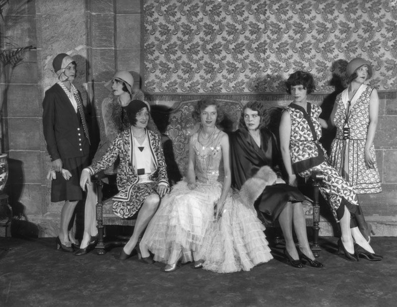 Models post for a fashion show inside the Biltmore Hotel.