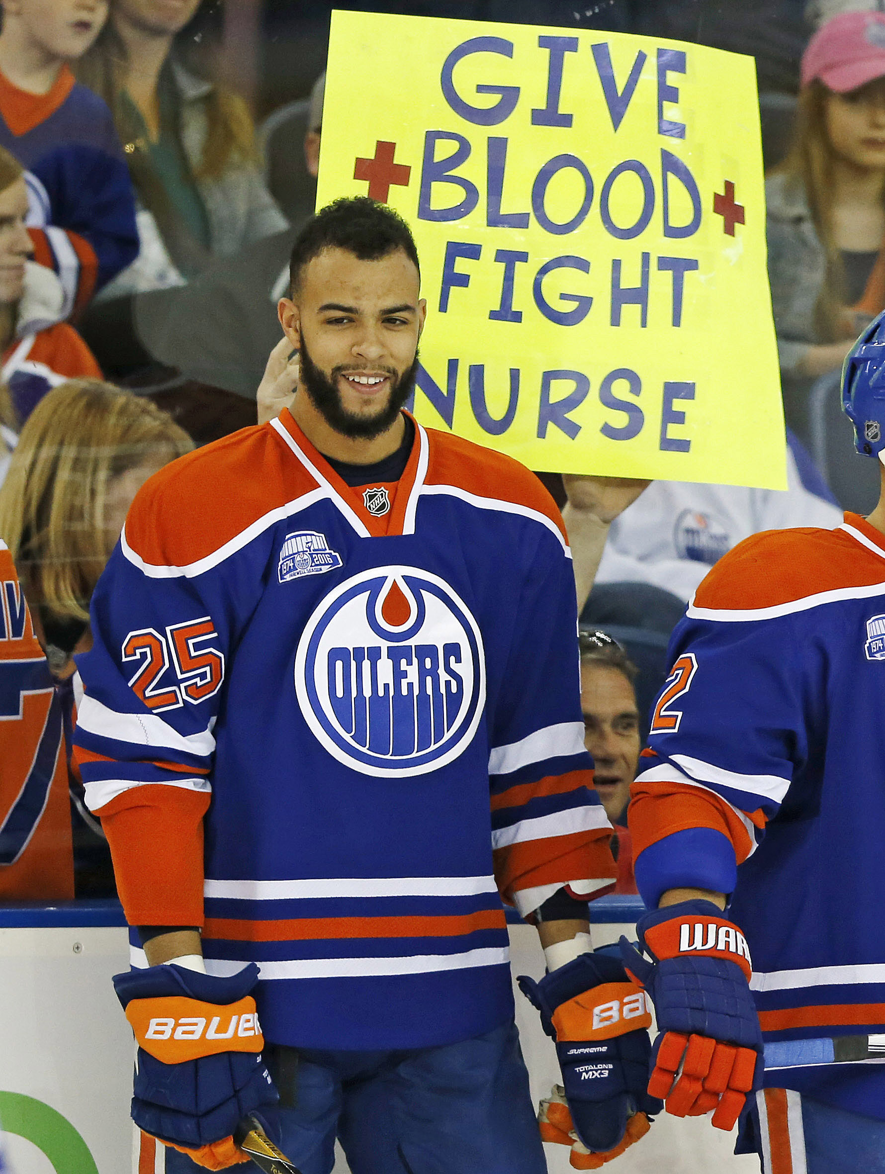 Darnell Nurse is available for tonight's game after taking a puck to the throat against Vancouver on Wednesday.