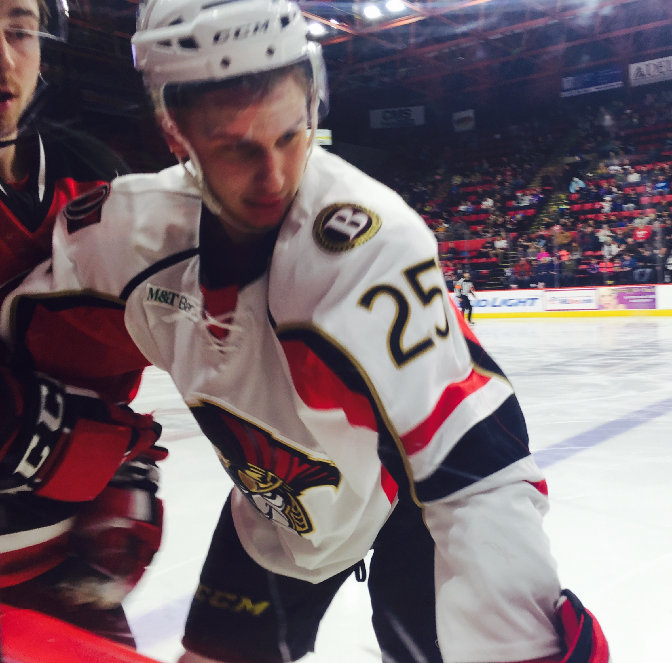 Forward Casey Bailey gets close and personal during BSens 2-1 win over the Albany Devils.