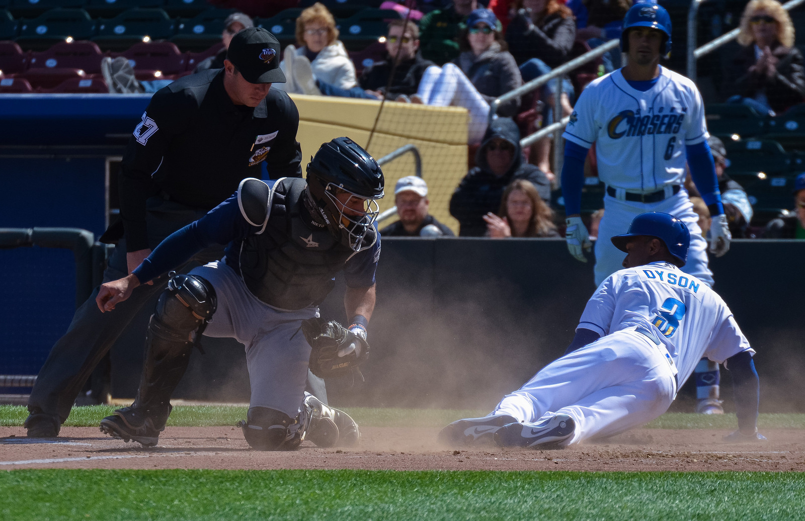 Jarrod Dyson joined the Storm Chasers on a rehab assignment.