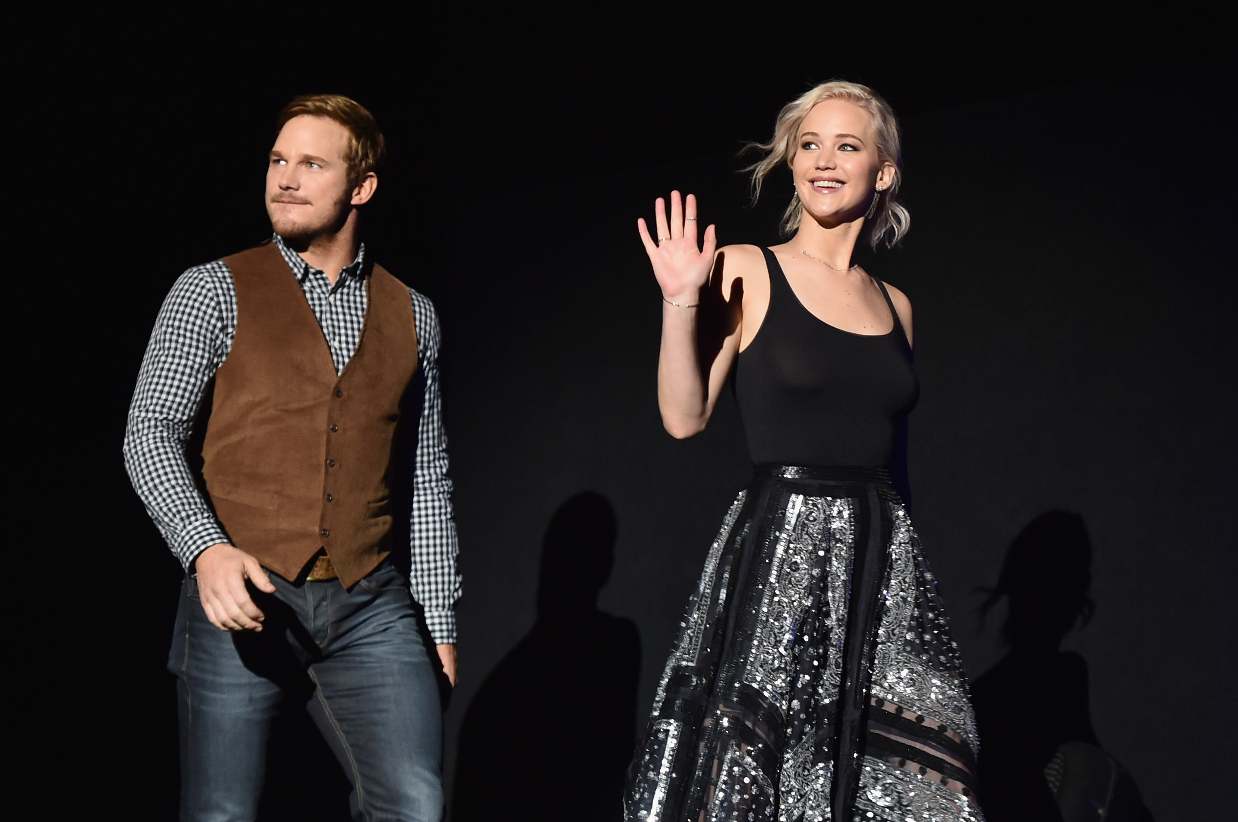 Jennifer Lawrence and Chris Pratt at CinemaCon in Las Vegas, Nevada.
