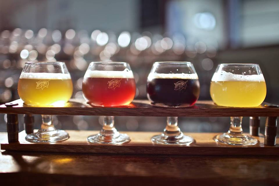 Flights of four Allagash beers are available in its tasting room