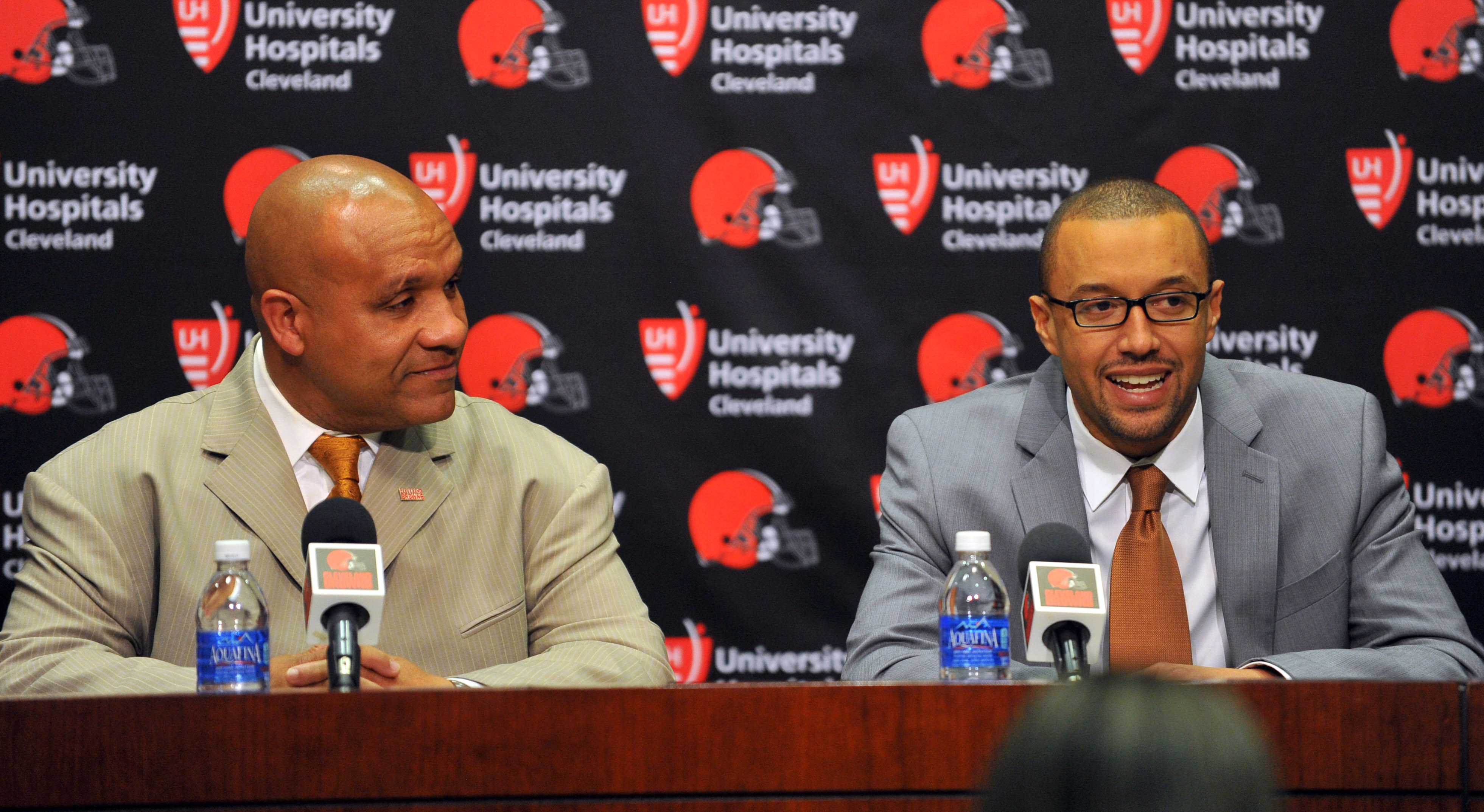 Browns GM Sashi Brown speaks at a press conference