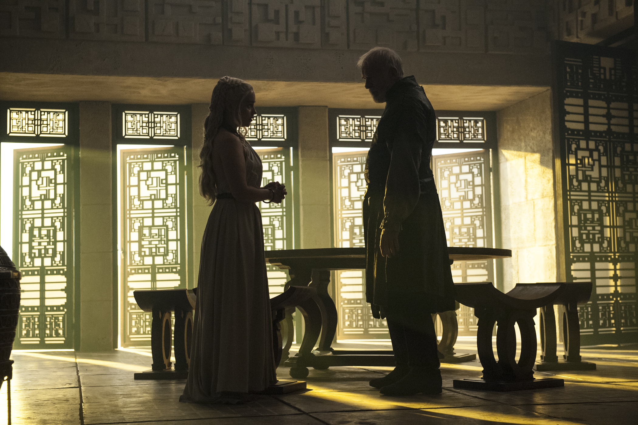 The design of Meereen in Game of Thrones was inspired by Frank Lloyd Wright's Mayan Period. Pictured: Emilia Clarke, Ian McElhinney