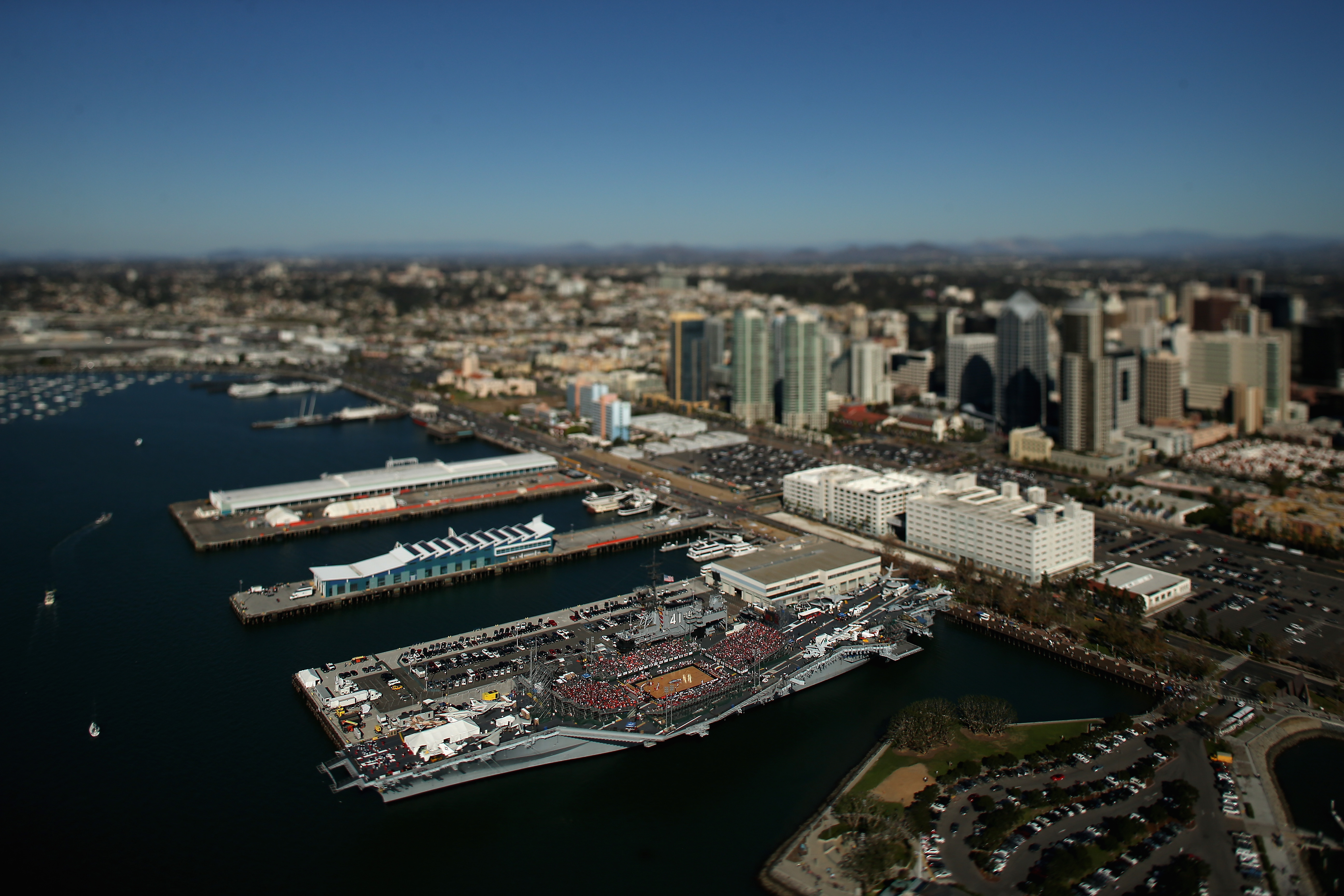 The USS Midway hosting a basketball game.