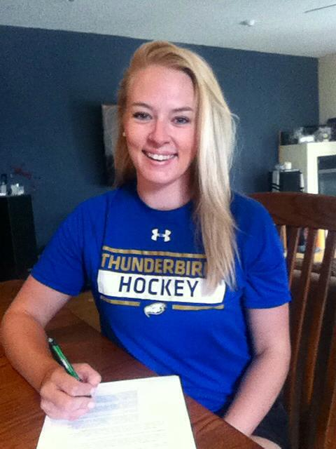 Tatiana Rafter signing her first pro contract with the Buffalo Beauts, NWHL