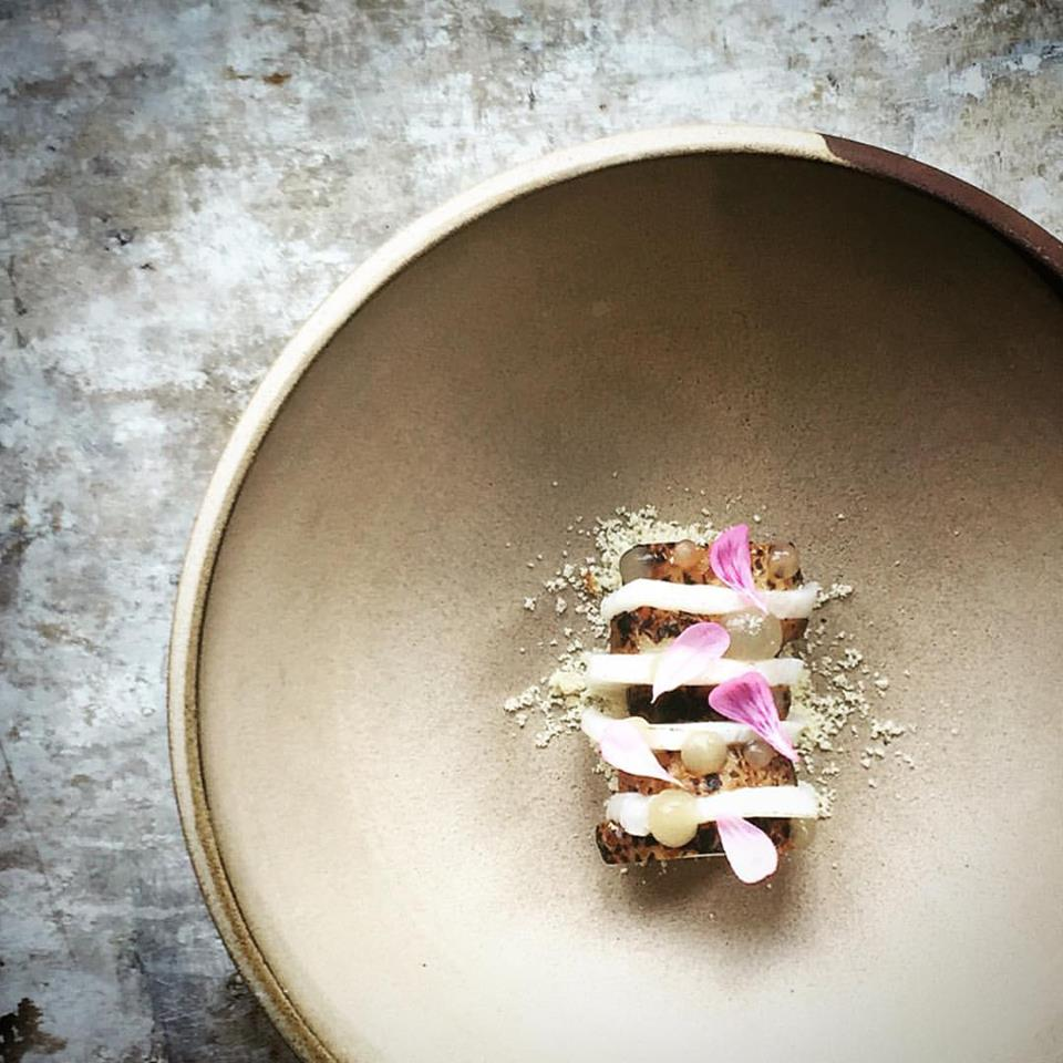 Scallops, sunchokes, brown butter, and dashi from Le Mousso