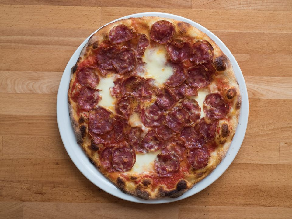 A mozzarella and saucisson pizza from Melrose