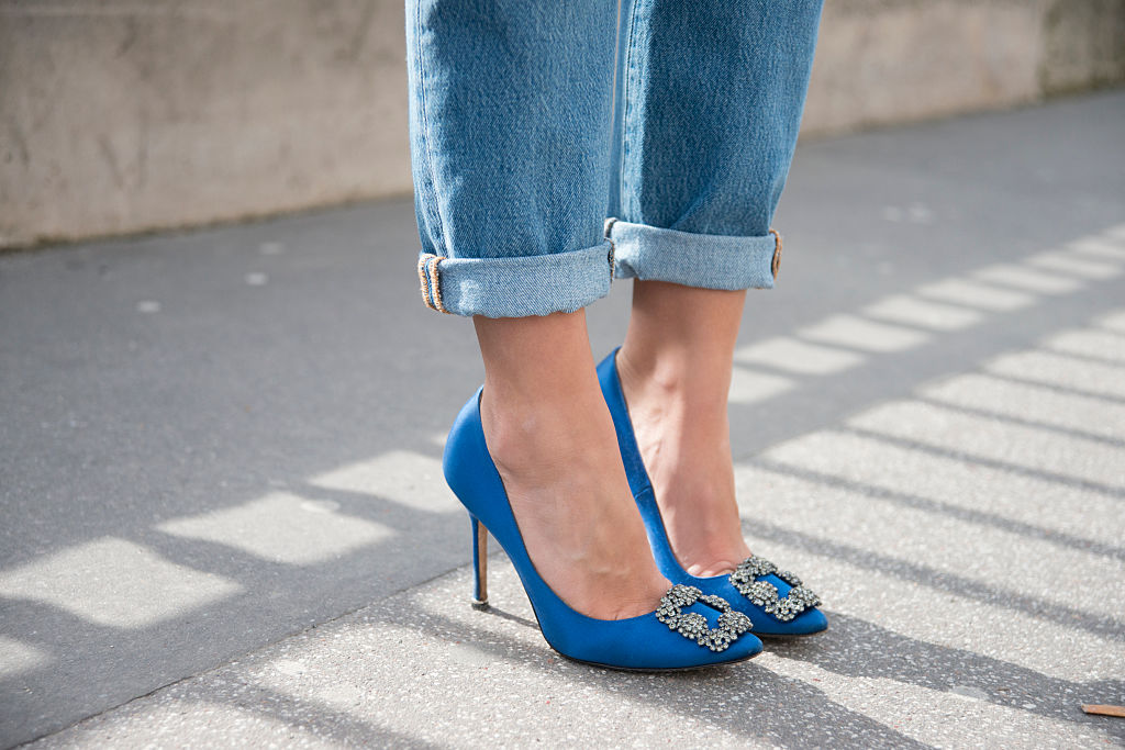 Carrie Bradshaw Blue Shoes For Sale