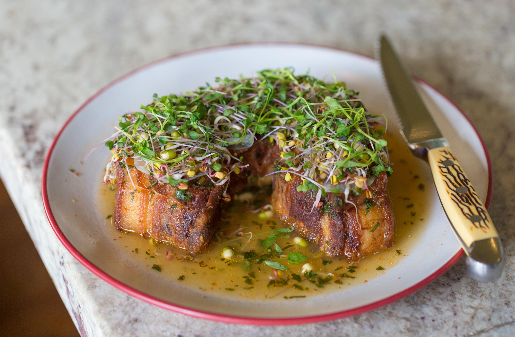 The famed chicharron porchetta dish from Broken Spanish in Los Angeles.