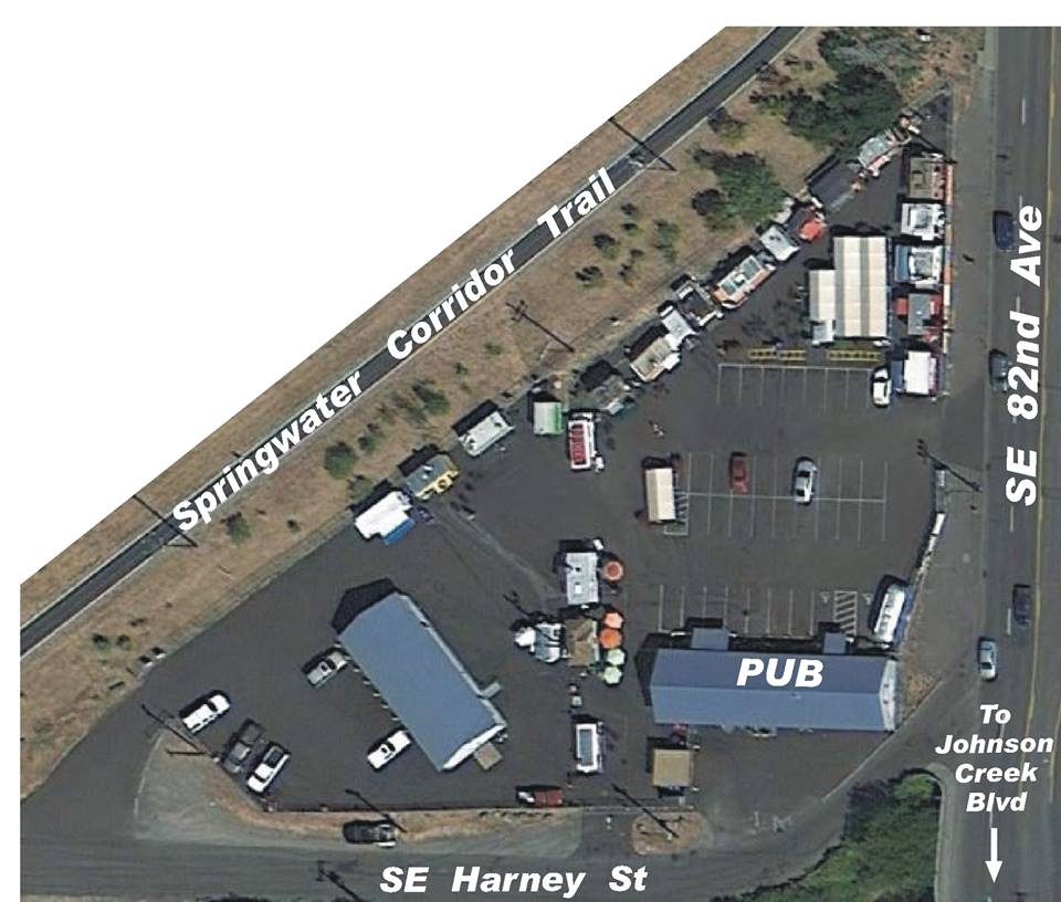 Cartlandia as seen from above, with the food carts located between Springwater Corridor Trail and SE 82nd Avenue