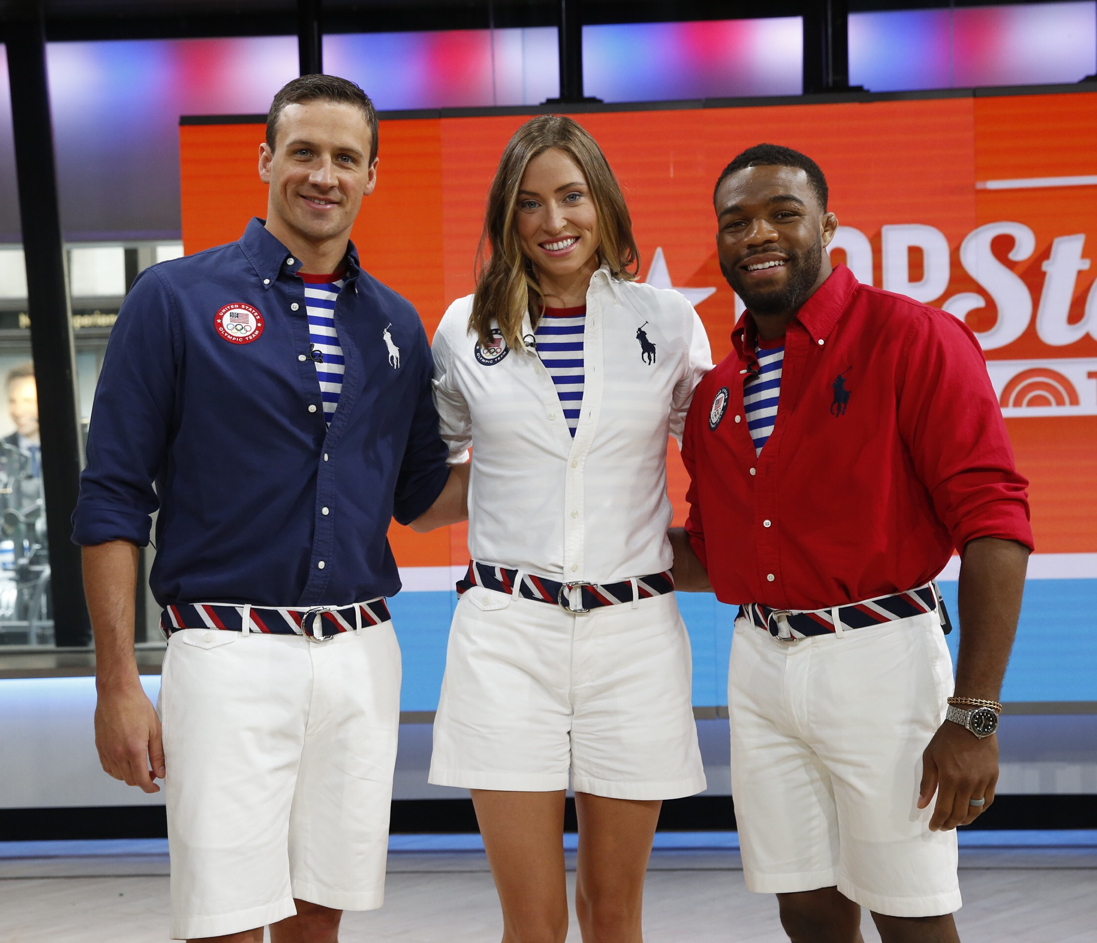 (From left to right) Ryan Lochte, Haley Anderson, and Jordan Burroughs wearing Team USA's closing ceremony uniforms.