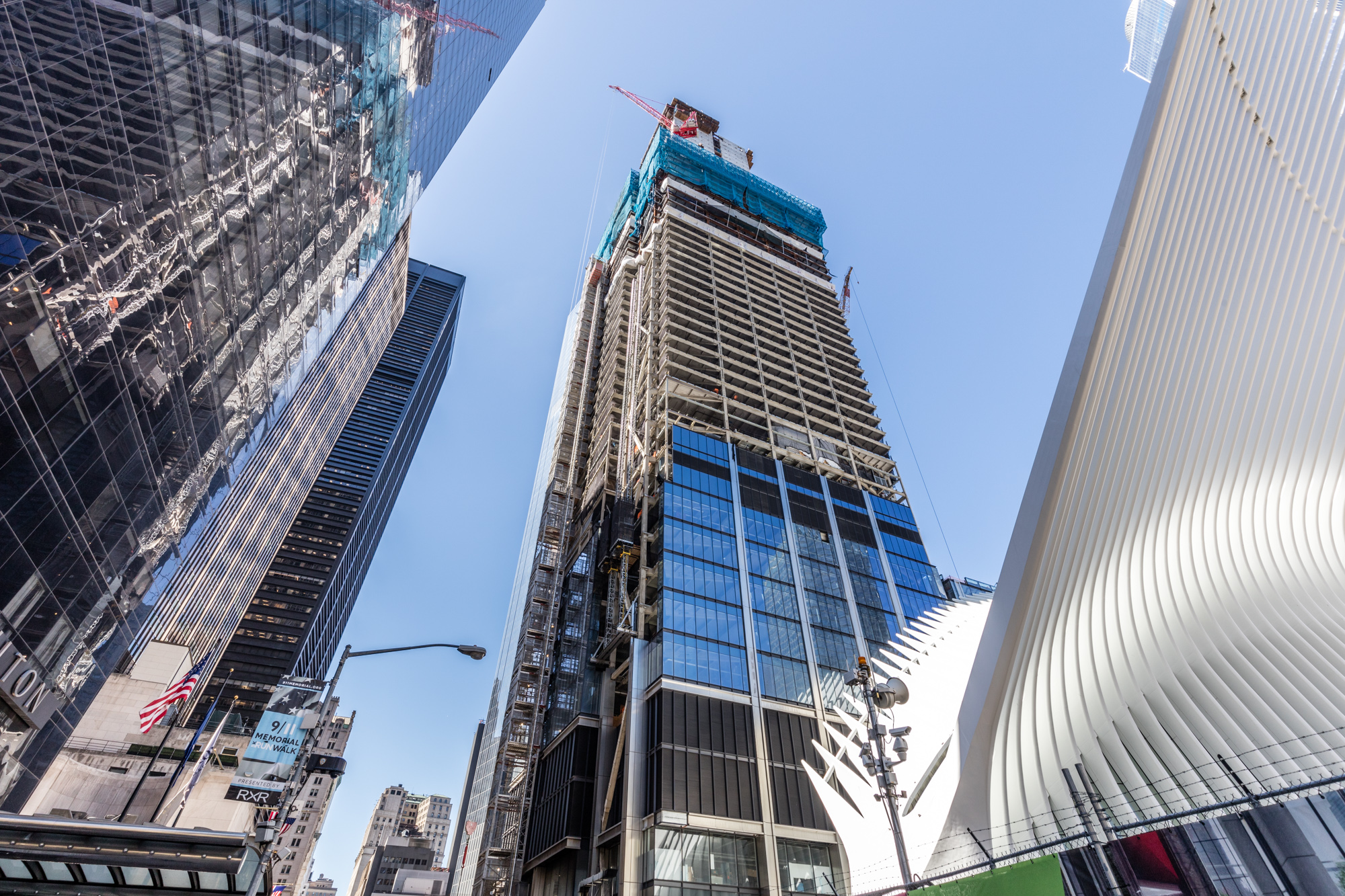 The under-construction 3 World Trade Center is the third tallest building at the site and will stand at 1,079 feet when it is complete.