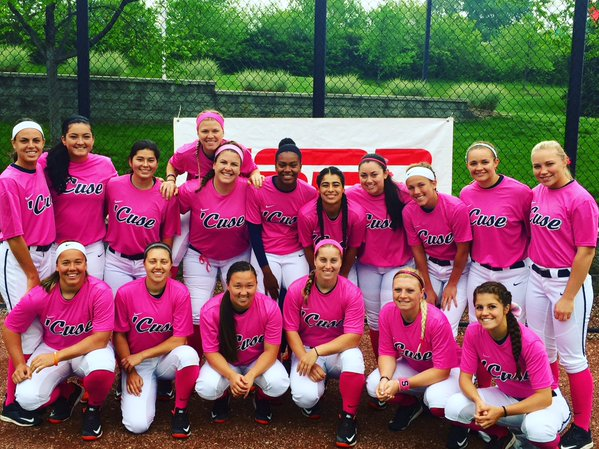 """The team before they took the field for Louisville's annual """"Pink Day"""" last weekend to support breast cancer research."""