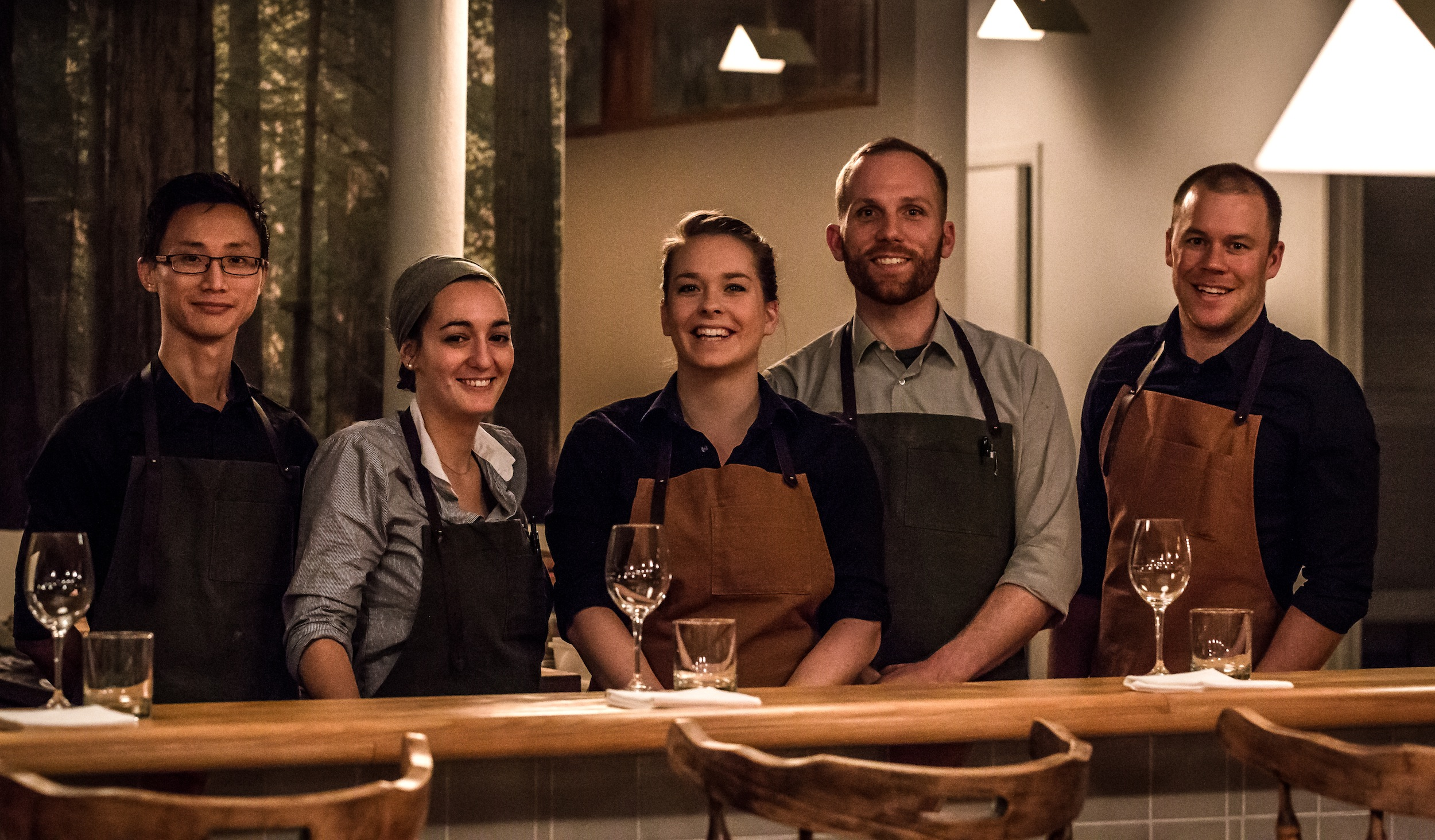 Chef John Winter Russell, with Valérie Bélisle to his right (not pictured, Emily Campeau)