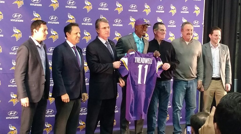 Treadwell's first photo op as a Viking.