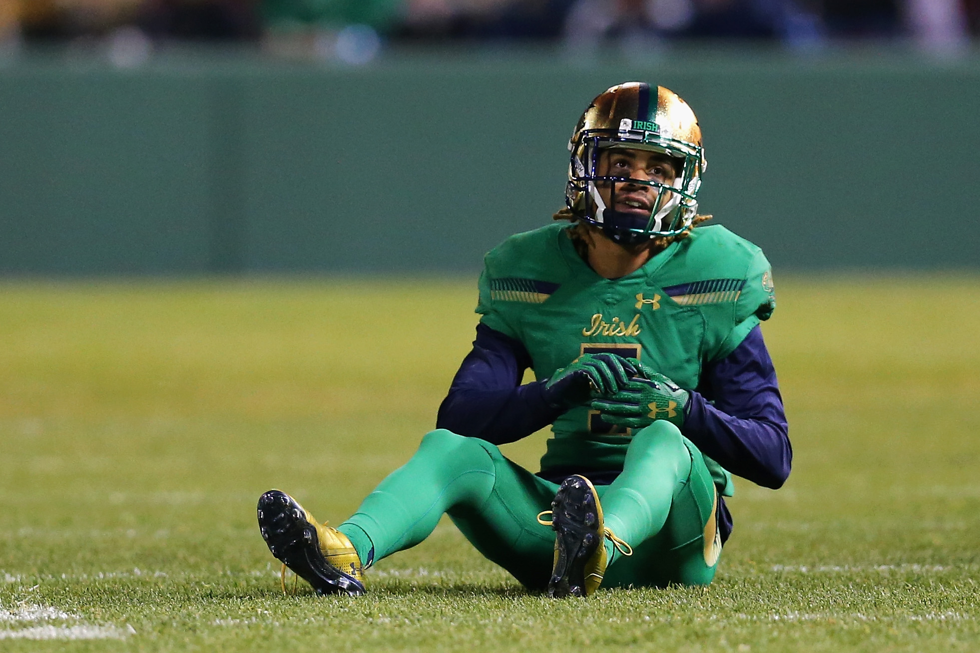 Will Fuller drops to the turf following another dropped pass for the Fighting Irish